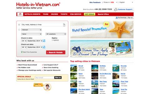 Screenshot of Home Page hotels-in-vietnam.com - Vietnam Hotels - Travel to Vietnam: Book Hotel & Hostels - captured Sept. 24, 2014