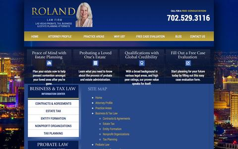 Screenshot of Site Map Page rolandlawfirm.com - Las Vegas Estate Planning Lawyer | Site Map - captured Sept. 30, 2014