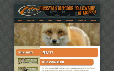 Screenshot of About Page cofausa.org - About Us | Christian Outdoor Fellowship of America - captured Oct. 2, 2014