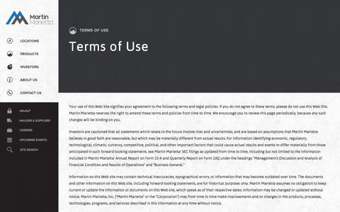 Screenshot of Terms Page martinmarietta.com - Martin Marietta Materials - Terms of Use - captured Nov. 3, 2014