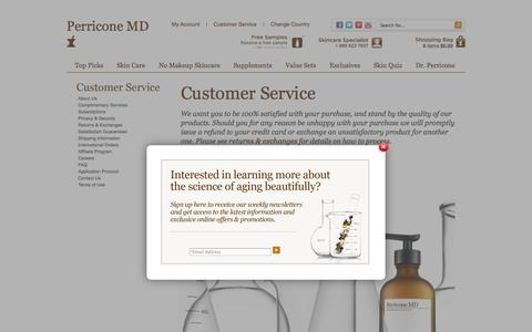 Screenshot of Support Page perriconemd.com - Customer Service                       - Perricone MD - captured Sept. 22, 2014