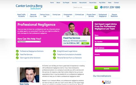 Screenshot of canter-law.co.uk - Professional Negligence Solicitors | Professional Negligence Lawyer | Negligence Legal Advice - captured Oct. 11, 2014