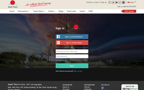 Screenshot of Login Page jeweltours.com - Sign in Jewel Tours - captured June 8, 2017