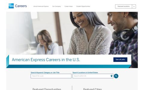 Screenshot of Jobs Page americanexpress.com - American Express Careers - captured Oct. 8, 2017