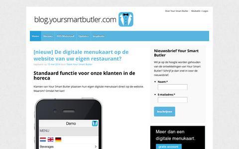 Screenshot of Blog yoursmartbutler.com - Blog - Your Smart Butler | Samen innoveren wij de horeca - captured Oct. 27, 2014