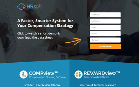 Screenshot of Landing Page hrsoft.com - Total Rewards Software by HRsoft - captured Sept. 26, 2017