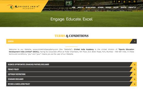 Screenshot of Terms Page cricketindiaacademy.com - Engage. Educate. Excel – Cricket India Academy - captured May 23, 2017