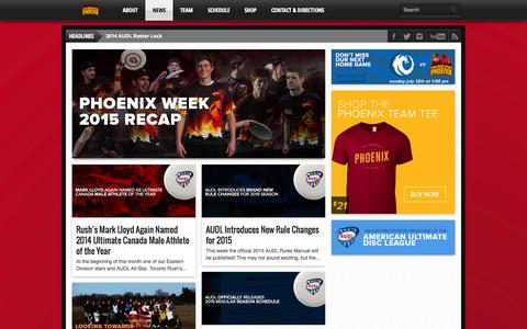 Screenshot of Press Page phlphoenix.com - News | Philadelphia Phoenix :: AUDL - captured Sept. 27, 2015