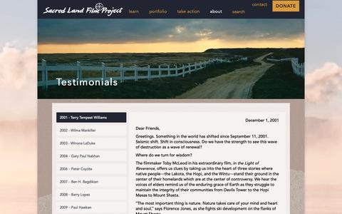 Screenshot of Testimonials Page sacredland.org - Testimonials – Sacred Land - captured Dec. 17, 2018