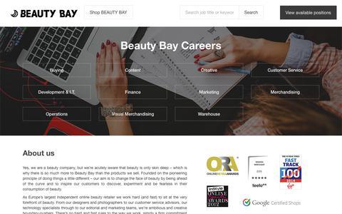 Screenshot of Jobs Page beautybay.com - Beauty Bay Careers - captured Sept. 21, 2018