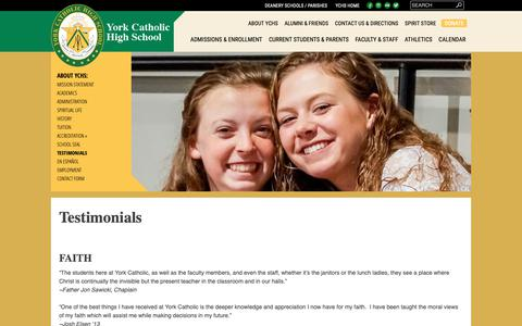 Screenshot of Testimonials Page yorkcatholic.org - Testimonials | - captured Oct. 19, 2018
