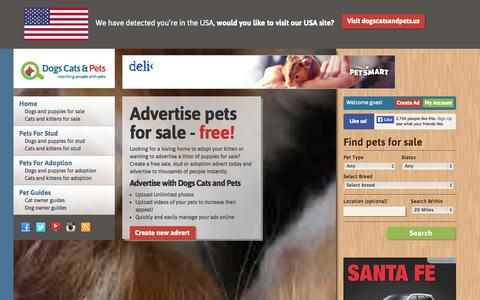 Screenshot of Home Page dogscatsandpets.co.uk - Puppies for Sale | Kittens for Sale | Advertise Dogs Cats and Pets Free | Buy Or Sell via dogscatsandpets.co.uk - captured Sept. 24, 2014
