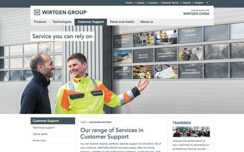 Screenshot of Support Page wirtgen-group.com - Our range of Services in Customer Support - WIRTGEN CHINA - captured Oct. 21, 2017