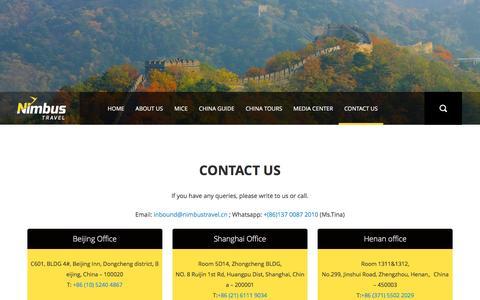 Screenshot of Contact Page nimbustravel.cn - Contact Us Details : Beijing Nimbus Travel - captured Nov. 5, 2016