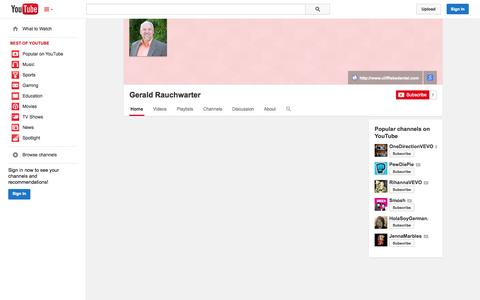 Screenshot of YouTube Page youtube.com - Gerald Rauchwarter  - YouTube - captured Oct. 22, 2014
