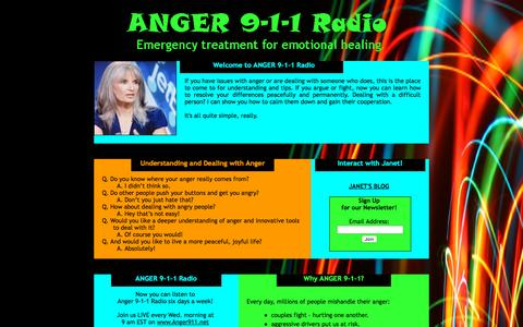 Screenshot of Home Page anger911.net - ANGER 9-1-1 Radio with Janet Pfeiffer - captured Oct. 12, 2015