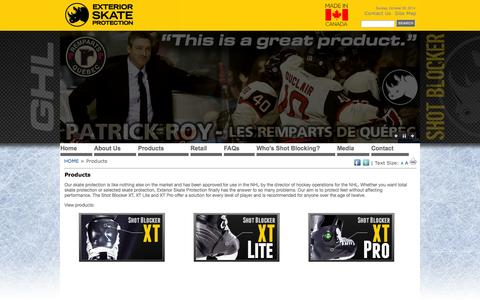 Screenshot of Products Page shotblockers.com - Shot Blockers - by Exterior Skate Protection - Products - captured Oct. 26, 2014