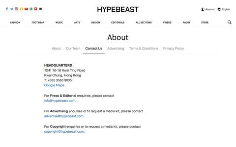 Contact Us | HYPEBEAST