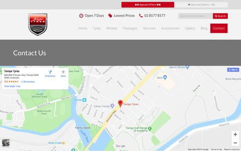 Screenshot of Contact Page tempetyres.com.au - Contact Us | Tempe Tyres - captured Sept. 19, 2018