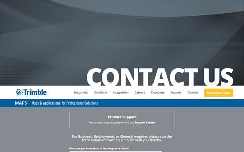 Screenshot of Contact Page trimble.com - Contact Us | Trimble MAPS - captured Feb. 13, 2019