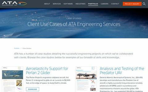 Screenshot of Case Studies Page ata-e.com - Case Studies - ATA Engineering - captured Feb. 11, 2018