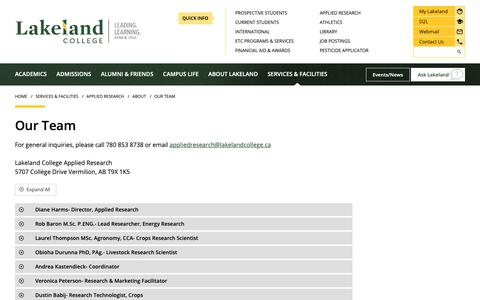 Screenshot of Team Page lakelandcollege.ca - The Applied Research Team | Lakeland College - captured Sept. 26, 2018