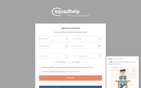 Screenshot of Signup Page squadhelp.com - Business Name Ideas| Naming & Logo Contests| Brand Name Ideas - captured June 29, 2017