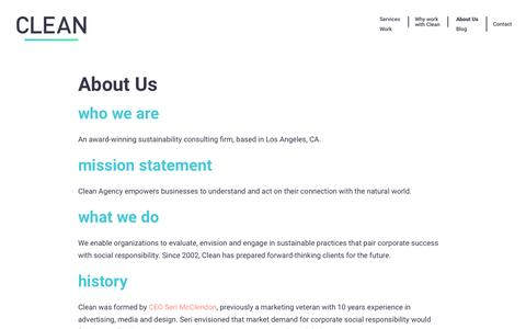 Screenshot of About Page cleanagency.com - Clean Agency Sustainability Consulting Los Angeles: About - captured May 17, 2017