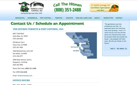 Screenshot of Contact Page hitmenpest.com - Contact, Schedule an Appointment | The Hitmen Termite & Pest Control - captured Sept. 23, 2014