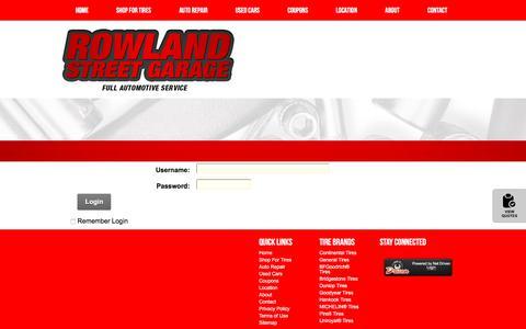Screenshot of Login Page rowlandstreetgarage.com - User Log In - captured Feb. 14, 2018