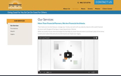 Screenshot of Services Page dunavantwealth.com - Financial Planning Services | Dunavant Wealth Strategies - captured Oct. 6, 2014