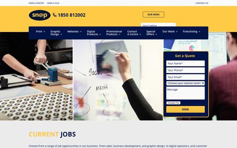 Screenshot of Jobs Page snap.ie - Snap Ireland Careers – Current Vacancies at Snap - captured Nov. 30, 2016