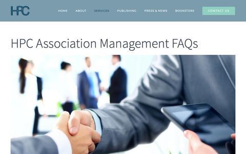 Screenshot of FAQ Page hiltonpub.com - HPC Association Management FAQs - HPC - captured Sept. 29, 2018