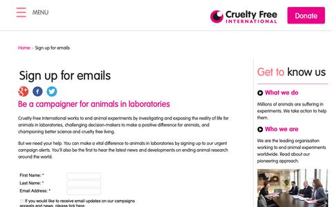 Screenshot of Signup Page crueltyfreeinternational.org - Sign up for emails | Cruelty Free International - captured Oct. 25, 2018