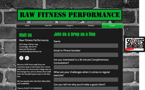 Screenshot of Contact Page raw-fitness.net - Contact - captured Dec. 19, 2016