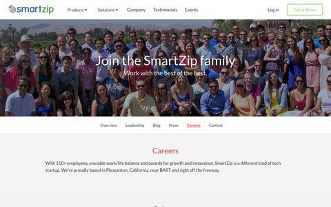 Screenshot of Jobs Page smartzip.com - Careers | SmartZip - captured Aug. 7, 2017