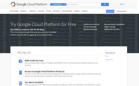 Screenshot of Trial Page google.com - Free Trial — Google Cloud Platform - captured Feb. 1, 2016