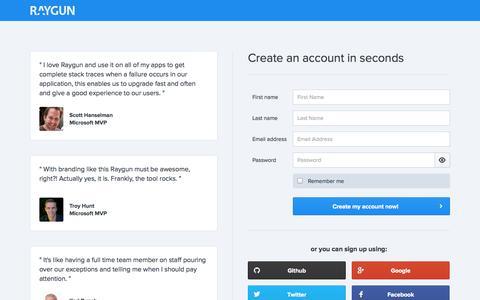 Screenshot of Signup Page raygun.io - Sign Up - Raygun.io - captured Nov. 2, 2014