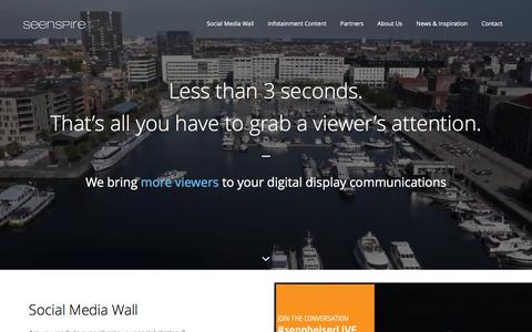 Screenshot of Home Page seenspire.com - Seenspire | Supercharge Your Display Communications - captured June 11, 2017