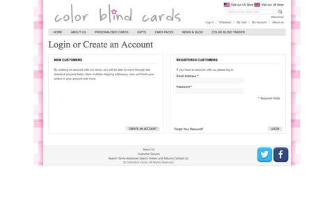 Screenshot of Login Page colorblindcards.com - Customer Login - captured Oct. 3, 2014