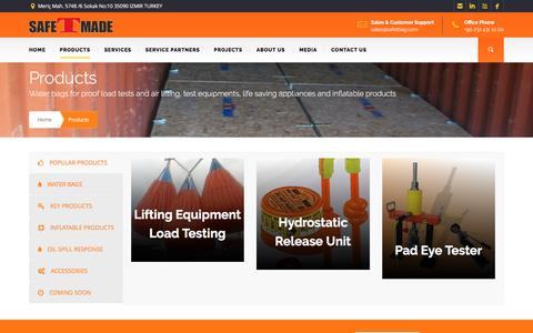 Screenshot of Products Page safetbag.com - Safetmade Products   Proof Load Water Bags, Load Test Equipments - captured Nov. 18, 2016