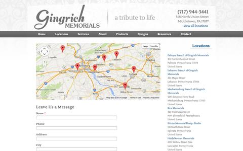 Screenshot of Contact Page Maps & Directions Page gingrichmemorials.com -   Gingrich Memorials - captured Oct. 22, 2014