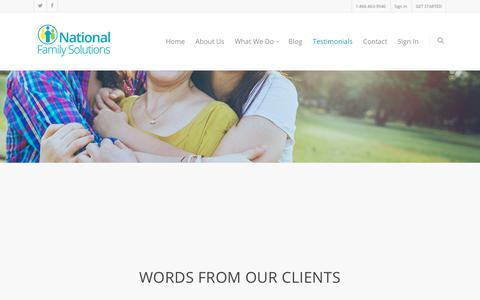 Screenshot of Testimonials Page nationalfamilysolutions.com - Legal Family Advocacy Group- Contact us at 866-863-9540 - captured Sept. 21, 2018