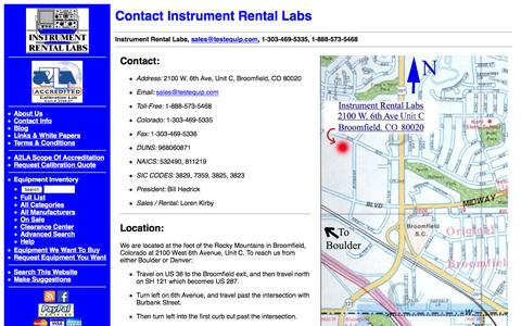 Screenshot of Maps & Directions Page testequip.com - Contact Instrument Rental Labs - captured Feb. 11, 2016