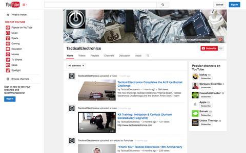 Screenshot of YouTube Page youtube.com - TacticalElectronics  - YouTube - captured Oct. 26, 2014