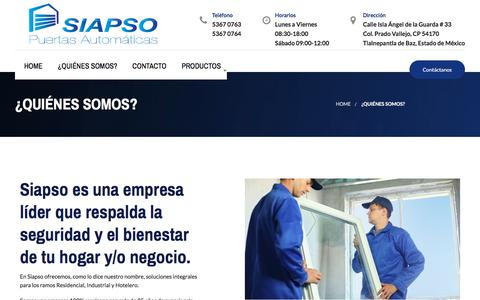 Screenshot of About Page siapso.com - ¿QUIÉNES SOMOS? - captured July 18, 2018