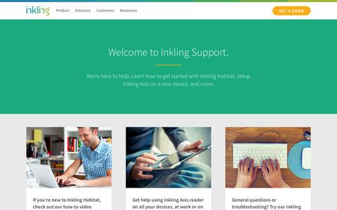 Screenshot of Support Page inkling.com - Get support for the Inkling platform | Inkling - captured Feb. 28, 2016