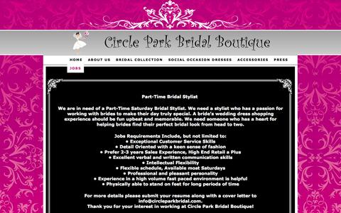 Screenshot of Jobs Page circleparkbridal.com - Bridal Stylist Jobs Available in Dallas Texas. — Circle Park Bridal Boutique - captured Oct. 2, 2014
