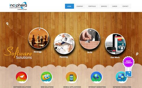 Screenshot of Home Page inciphera.com - Inciphera Technologies | Software Development | Web Development | Search Engine Optimization | Android Apps Development | India | UAE - captured Oct. 6, 2014