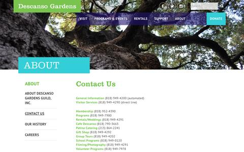 Screenshot of Contact Page descansogardens.org - Contact Us - Descanso Gardens Guild - captured Nov. 24, 2016